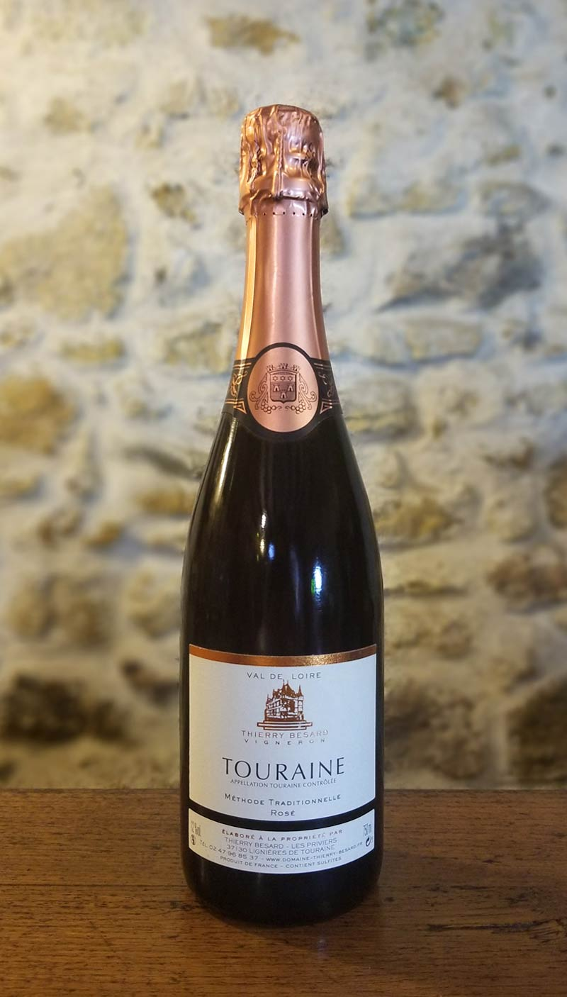 Rosé pétillant méthode traditionnelle du Val de Loire (Azay Le Rideau)